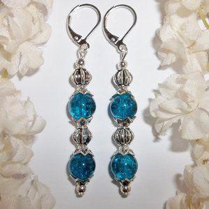 Dark Turquoise Blue Long Earrings Beaded Set 5642